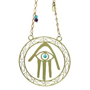 Shraga Landesman Brass Wall Hanging Hamsa Hand Blue Eye - Fish