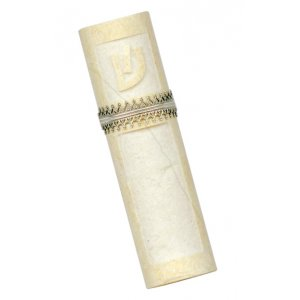 Caesarea Arts Jerusalem Stone Mezuzah Case Antique Design - Silver Band