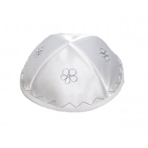 White Terylene Kippah with flower design