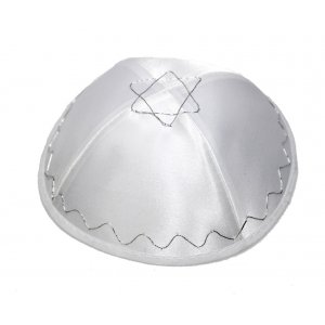 White Terylene Kippah with Star of David