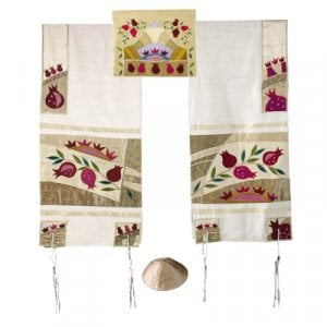 Yair Emanuel Embroidered Raw Silk Tallit Set, Pomegranates - Gold