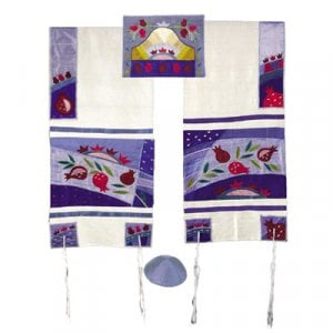 Yair Emanuel Embroidered Raw Silk Tallit Set, Pomegranates - Blue