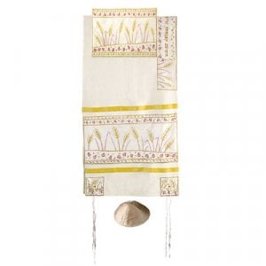 Yair Emanuel Embroidered Raw Silk Tallit Set, Wheat and Pomegranates - Cream