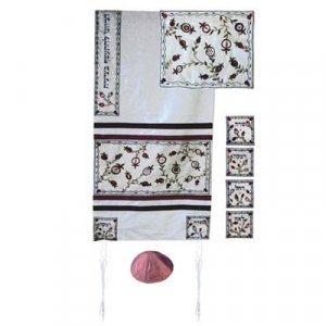 Yair Emanuel Silk Tallit Set, Embroidered Appliques - Matriarchs & Pomegranates