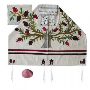 Yair Emanuel Embroidered Raw Silk Tallit Set, Tree of Life Pomegranate Tree - White