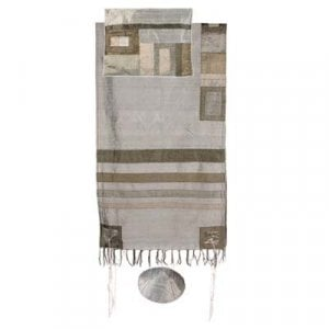 Yair Emanuel Hand Woven Silk Tallit Set, Gray - Appliqued Stripes