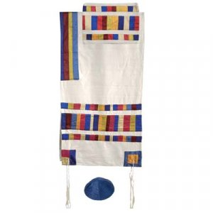 Yair Emanuel Silk Tallit Set with Embroidered Silk Applique, Multicolor stripes