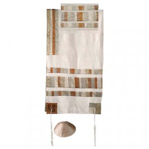 Yair Emanuel Silk Tallit Set with Embroidered Silk Appliques and Gold stripes