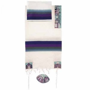 Yair Emanuel Woven Cotton Tallit Set, Hand Embroidered Jerusalem Images - Blue