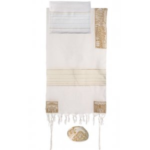 Yair Emanuel Woven Cotton Tallit Set, Hand Embroidered Jerusalem Images - Gold