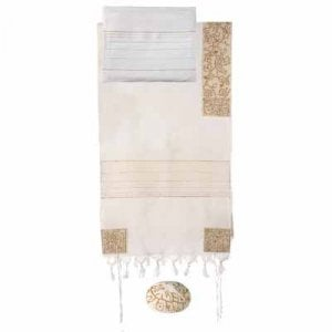 Yair Emanuel Gold Embroidered Cotton Tallit Set - Four Matriarchs