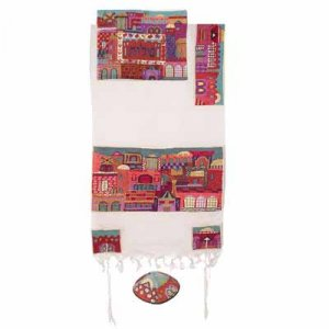Yair Emanuel Woven Cotton Tallit Set Hand Embroidered Jerusalem Images - Red