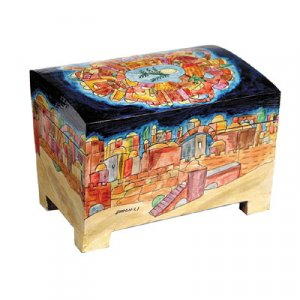 Yair Emanuel Hand Painted Colorful Wood Etrog Box - Jerusalem Design