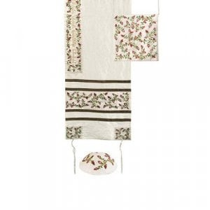Yair Emanuel Embroidered Striped Tallisack Polysilk Tallit Set - Pomegranates