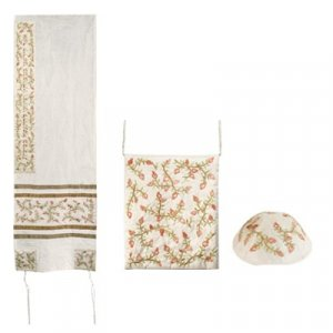 Yair Emanuel Embroidered White PolySilk Tallisack Gold Stripes - Pomegranates