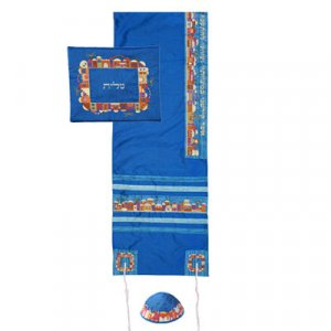 Yair Emanuel Embroidered Polysilk Blue Tallit Set - Colorful Jerusalem Design