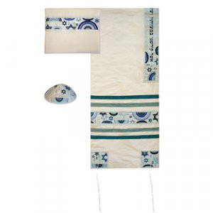 Yair Emanuel White Polysilk Tallit Set - Embroidered Blue Judaica Symbols