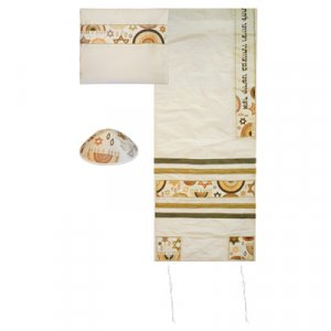 Yair Emanuel White Polysilk Tallit Set - Embroidered Gold Stars of David and Menorahs