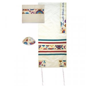 Yair Emanuel White Polysilk Tallit Set - Embroidered Colorful Judaic Symbols