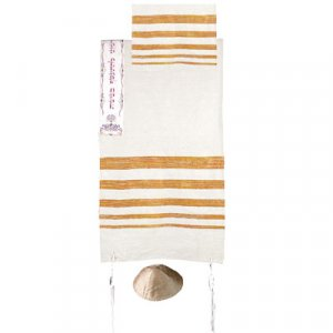 Yair Emanuel Hand Woven Silk Tallit Set, Embroidered Atara - Orange Stripes