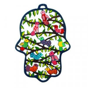 Yair Emanuel Large Laser Cut Hand-painted Wall Hamsa - Flowers