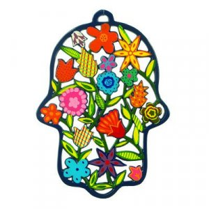 Yair Emanuel Large Laser Cut Hand-painted Colorful Wall Hamsa - Flowers