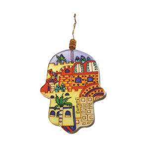 Yair Emanuel Small Hand-painted Glass Wall Hamsa - Jerusalem Views