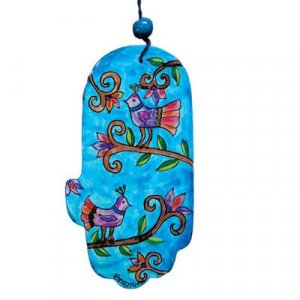 Yair Emanuel Hand Painted Wood wALL Hamsa - Birds on Blue