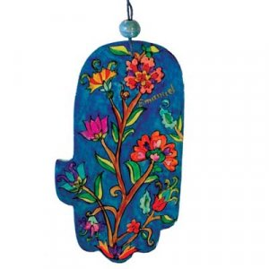 Yair Emanuel Hand Painted Wood Wall Hamsa – Red Flowers on Blue