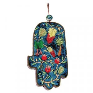 Yair Emanuel Hand Painted Wood Wall Hamsa, Colorful - Seven Species