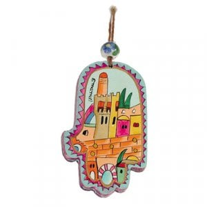 Yair Emanuel Small Hand Painted Wood Wall Hamsa, Colorful - Tower of David