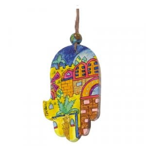 Yair Emanuel Small Hand Painted Wood Wall Hamsa, Colorful - Golden Jerusalem