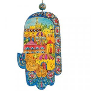 Yair Emanuel Small Hand Painted Wood Wall Hamsa - Golden Jerusalem