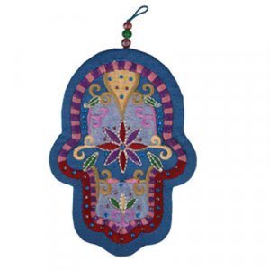 Yair Emanuel Blue Hand-embroidered Silk Wall Hamsa - Flowers