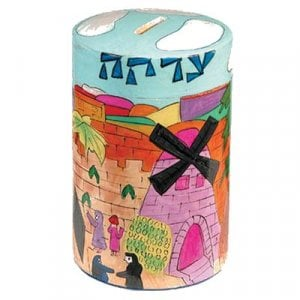 Yair Emanuel Round Colorful Wood Charity Tzedakah Box - Jerusalem