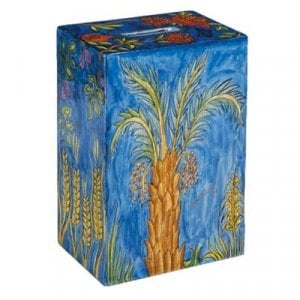 Yair Emanuel Hand Painted Rectangle Tzedakah Charity Box - Seven Species