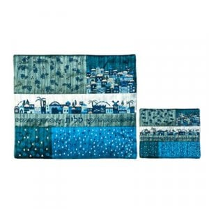 Yair Emanuel - Shades of Blue Quilted Tallit & Tefillin Bag – Jerusalem Scenes