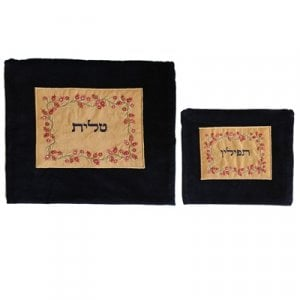 Yair Emanuel Velvet Tallit and Tefillin Bag Silk Appliqued Pomegranates on Gold