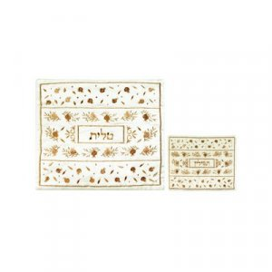 Yair Emanuel White Embroidered Tallit & Tefillin Bag Set - Gold Pomegranates