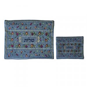 Yair Emanuel Blue Embroidered Tallit and Tefillin Bag Set – Pomegranates