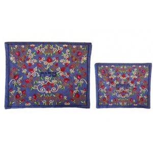 Yair Emanuel Blue Embroidered Tallit and Tefillin Bag Set - Pomegranates