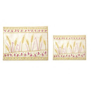 Yair Emanuel Gold Embroidered Tallit and Tefillin Bag Set - Wheat Sheaves