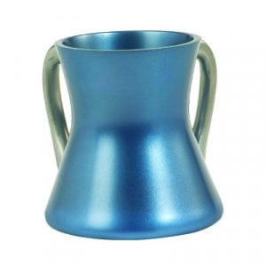 Yair Emanuel Gleaming Aluminum Small Hourglass Wash Cup - Blue