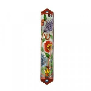 Yair Emanuel Hand Painted Colorful Laser Cut Metal Mezuzah Case - Flowers