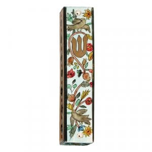 Yair Emanuel Large Hand Painted Wood Mezuzah Case - Birds on Blue