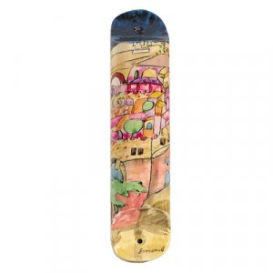 Yair Emanuel Large Hand Painted Wood Mezuzah Case - Jerusalem in Pink