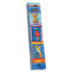 Yair Emanuel Large Hand Painted Wood Mezuzah Case - Birds and Pomegranates