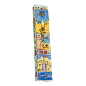 Yair Emanuel Large Hand Painted Wood Mezuzah - Jerusalem Gates