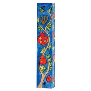 Yair Emanuel Large Hand Painted Wood Mezuzah Case - Pomegranate Branch