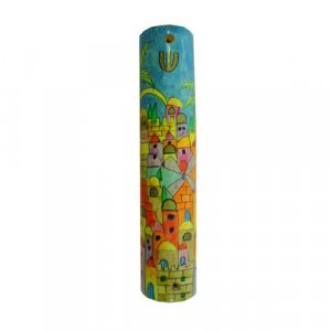Yair Emanuel Large Hand Painted Wood Mezuzah Case - Colorful Jerusalem